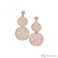 14 Karat Rose Gold Plated Filigree Disc Drop Earrings