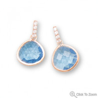 14 Karat Rose Gold Plated Blue Glass Drop Earrings