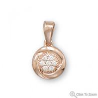 Round 14 Karat Gold Plated CZ Pendant