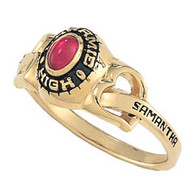 Ladies 10K Gold Fashion Heartstrings Class Ring