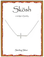 Skosh Brushed Sideways Cross Necklace