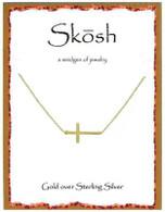 Skosh Brushed Sideways Cross- Gold Plated
