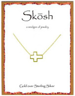Skosh Open Sideways Cross- Gold Plated