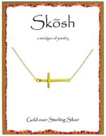 Skosh Polished Sideways Cross Necklace - Gold Plated