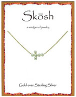 Skosh Pearl Sideways Cross Necklace - Gold Plated