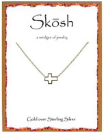 Skosh Small Open Sideways Cross - Gold Plated