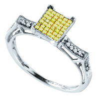 0.33CT YELLOW PRINCESS DIAMOND LADIES INVISIBLE RING