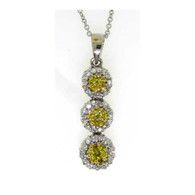 0.50CTW ROUND YELLOW DIAMOND FLOWER PENDANT