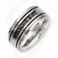 Stainless Steel Black IP-plated & Black Diamonds 9mm Band