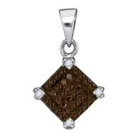 0.15CTW COGNAC DIAMOND MICRO-PAVE PENDANT