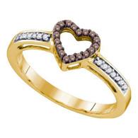 0.12CTW COGNAC DIAMOND HEART RING