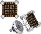 0.25CTW COGNAC DIAMOND MICRO-PAVE EARRING