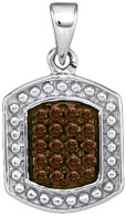 0.20CTW COGNAC DIAMOND MICRO-PAVE PENDANT