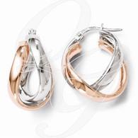 Leslie's Sterling Silver Rose Gold-plated Double Hoop Earrings