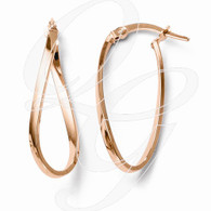 Leslies 10k and Rose Gold-plated Polished Hinged Hoop Earrings