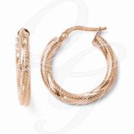 Leslies 10K Rose Gold Textured Hinged Hoop Earrings