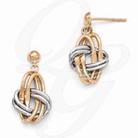 Leslie's 14k Two-tone (Rose & White) Polished Post Dangle Earrings
