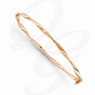 Leslies 14K Rose Gold Polished Twisted Hinged Bangle