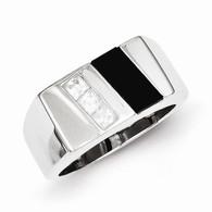 Men's CZ & Onyx Ring
