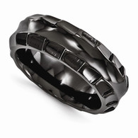 Edward Mirell Black Ti Polished Faceted Edges 8mm Ring