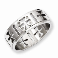 Stainless Steel Cutout Crosses w/Diamonds Ring