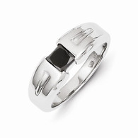 14k White Gold Black Diamond Mens Ring