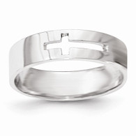 14k White Gold Polished Cut-out Cross Mens Ring
