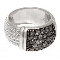 Phillip Gavriel Rectangular Top Silver Popcorn Ring with Black Sapphires