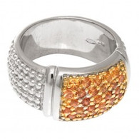 Phillip Gavriel Rectangular Top Silver Popcorn Ring with Yellow Sapphires