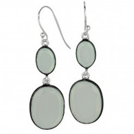 Phillip Gavriel 2-Graduated Oval Aqua Chalcedony Drop Earring