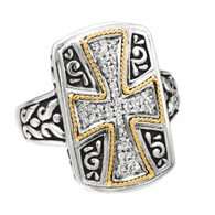 Phillip Gavriel 18k Yellow Gold & Sterling Silver Diamond Cross Wide Ring