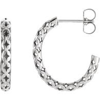 14kt White 19.5x2.7mm Pierced-Style J-Hoop Earrings