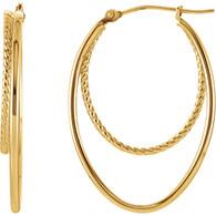 14kt Yellow Oval Hoop Earrings