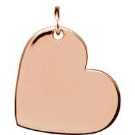 14kt Rose 11x9mm Engravable Heart-Shaped Dangle Pendant