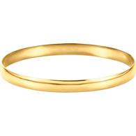 14kt Yellow 6mm Half Round Bangle Bracelet