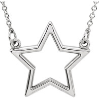 "14kt White Star 16"" Necklace"
