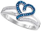 0.14CTW DIAMOND BLUE RING