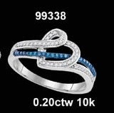 0.20CTW 10K BLUE DIAMOND MICRO-PAVE RING