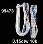 0.15CTW 10K BLUE DIAMOND MICRO-PAVE EARRINGS