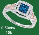 0.50CTW 10K BLUE DIAMOND  MICRO-PAVE RING