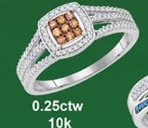 0.25CTW 10K MIX COLOR MICRO-PAVE RING