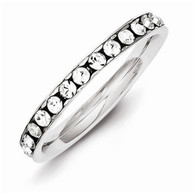 Sterling Silver Crystal Eternity Band