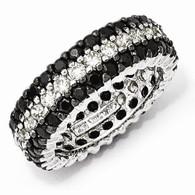 Sterling Silver Black/White CZ Eternity Ring