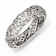 Sterling Silver CZ Lines & Swirls Eternity Ring