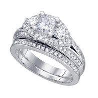 1.74CTW DIAMOND 1.00CT CENTER PRINCESS BRIDAL SET