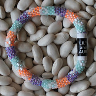 Deep Lavender, Mint, and Neon Orange with White Flowers