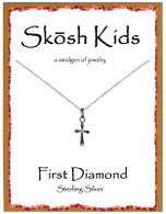 Shosh Children's Plain Cross with Diamond Necklace