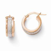 Leslie's 14k Rose Gold Glimmer Infused Hinged Hoop Earrings