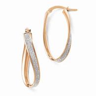 Leslies 14k Rose Gold Glimmer Infused Twist Hoop Earrings
