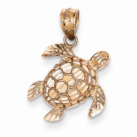 14k Rose Gold Diamond Cut Turtle Pendant